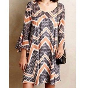 Anthropologie Paper Crown chevron print dress M